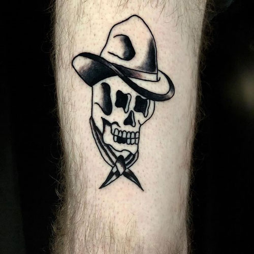 tatauje de craneo tradicional americano