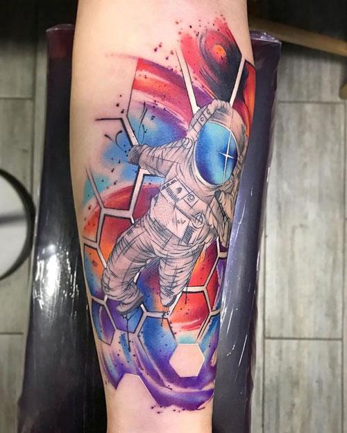cartoon tattoo astronauta