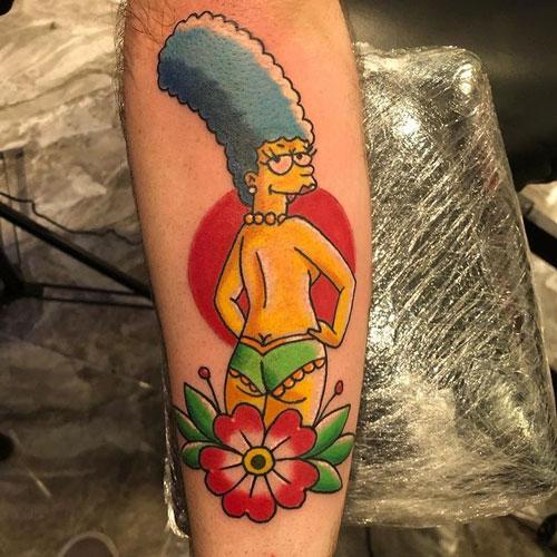 tatuaje de los simpson marge