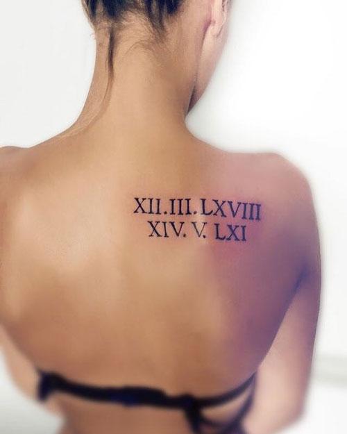 tatuaje en espalda de números romanos