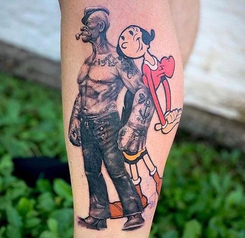 tatuaje de caricaturas popeye