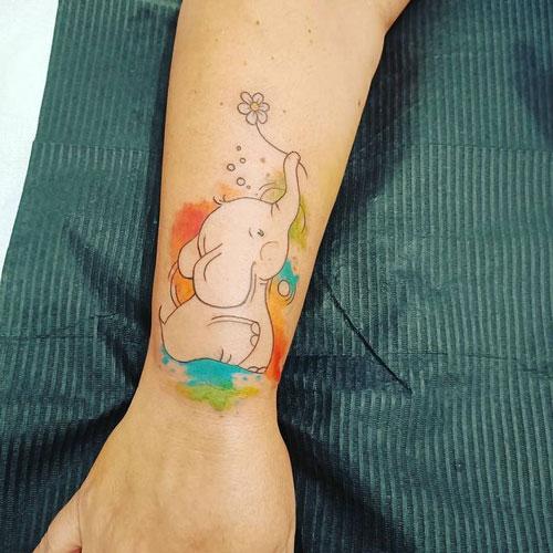 tatuaje acuarela y cartoon