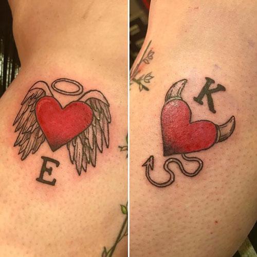 tatuaje de corazones en pareja
