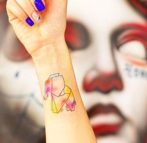tatuaje geométrico de elefantes
