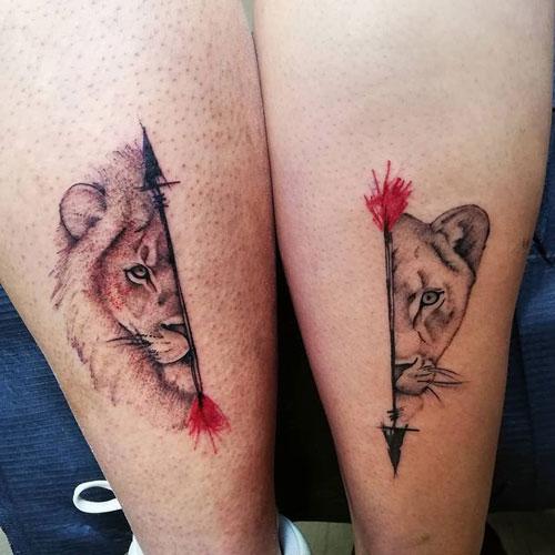 tatuaje de leona y león parejas