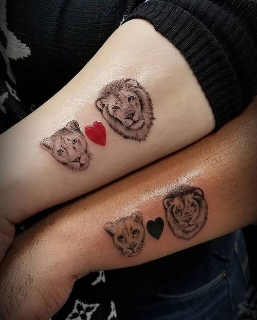 león y leona tatuaje