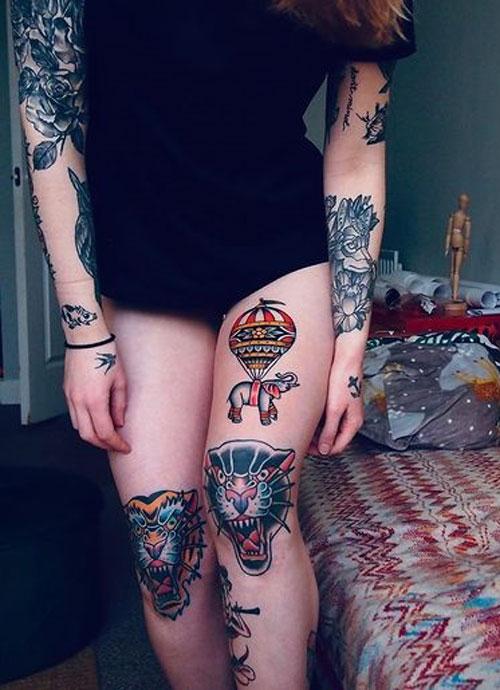 tatuaje tradicional americano pierna