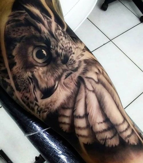 tatuaje realismo buho