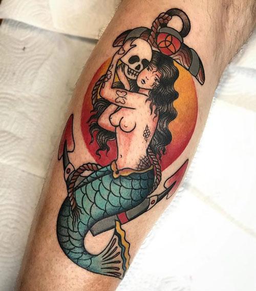 tatuaje de sirena y ancla