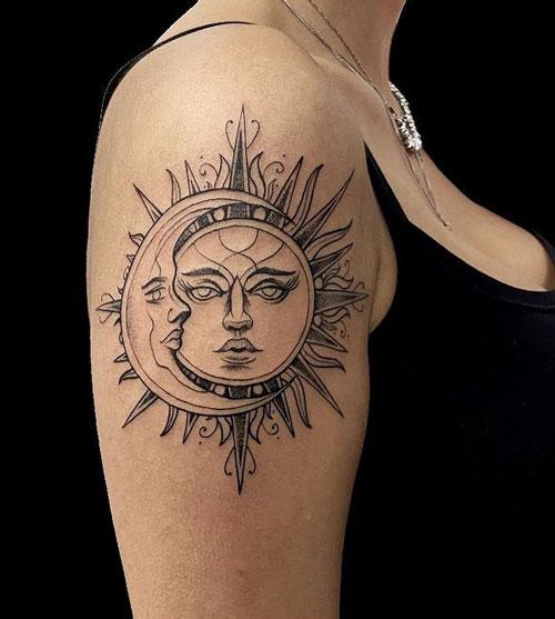 luna y sol tatuaje ornamental