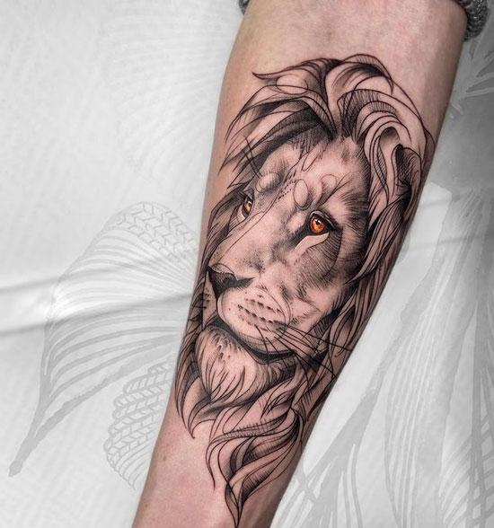 tatuaje en negro y gris de león