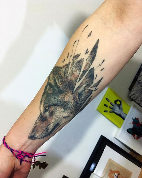 tatuaje cara de lobo