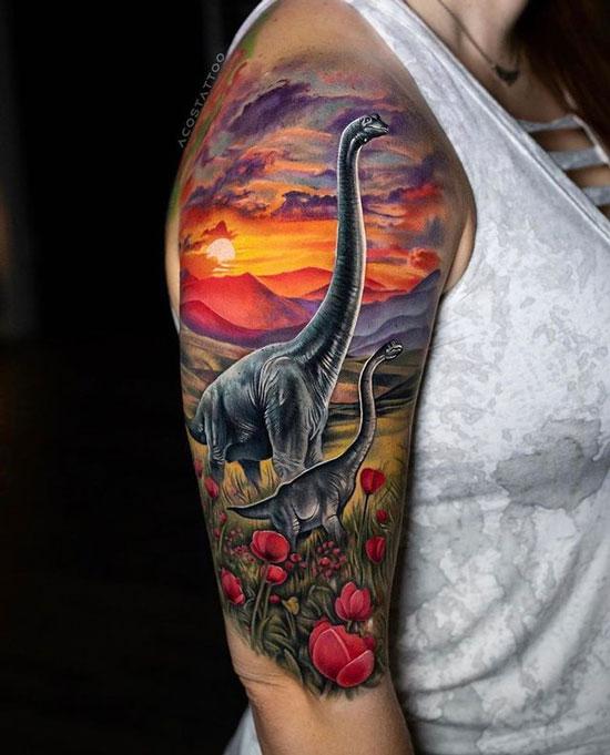 tatuaje de Braquiosaurio color