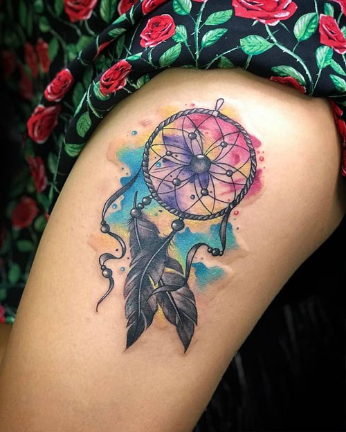 tatuaje acuarela atrapa sueño