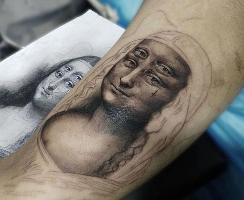 tatuaje de la pintura monalisa