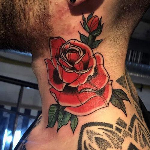 tatuaje en cuello de una rosa roja