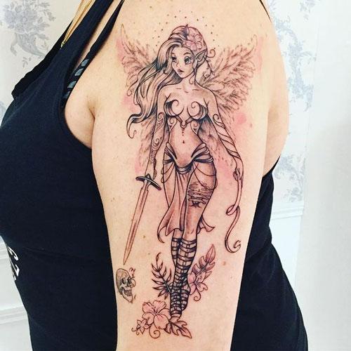 tatuaje hada con espada