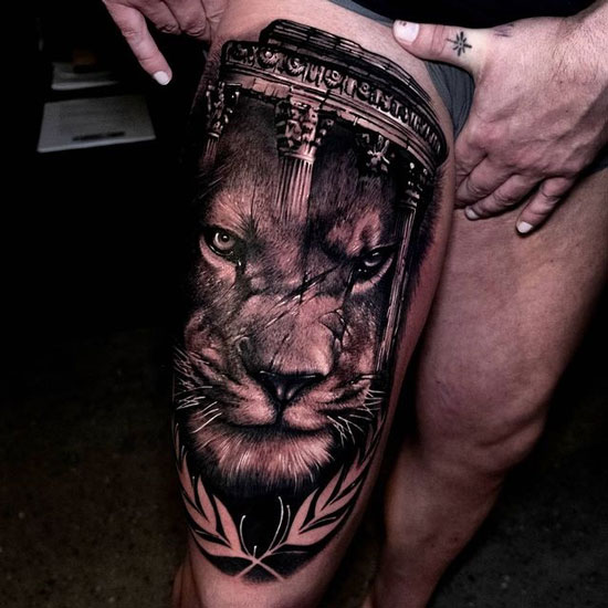 tatuaje león en piernas