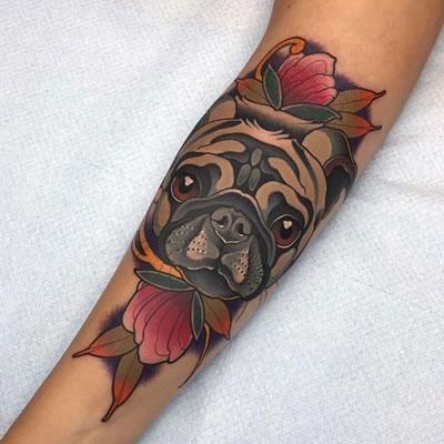 tatuaje pug a color