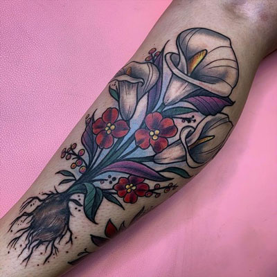 color tattoo alcatraz flor