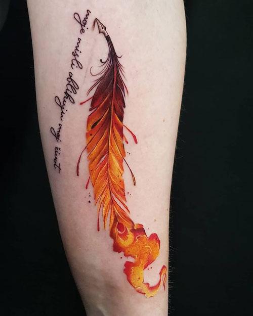 tattoo de pluma de fenix