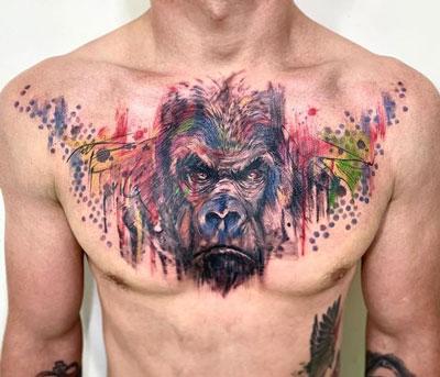 tatuaje color de gorila
