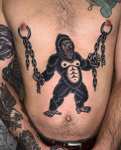 tatuaje de gorila