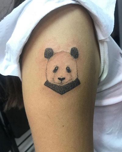 handpoke tattoo panda
