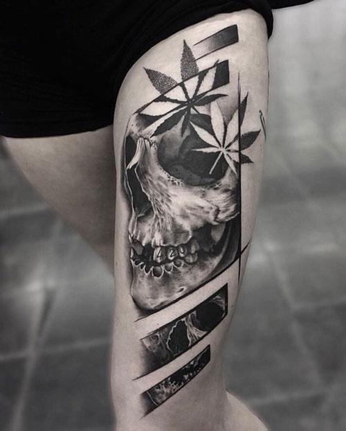 tatuaje realismo marihuana