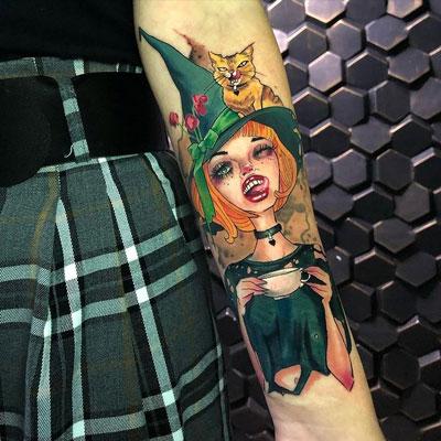 tatuaje bruja a color