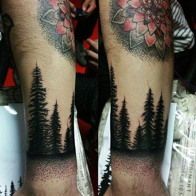 tatuaje de un pino