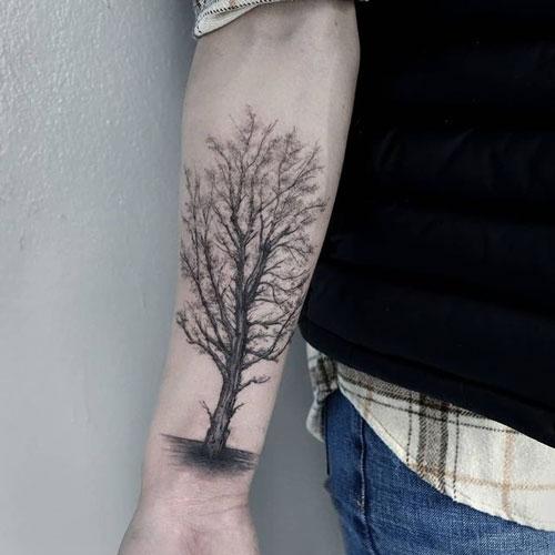 tatuaje en brazo con arbol