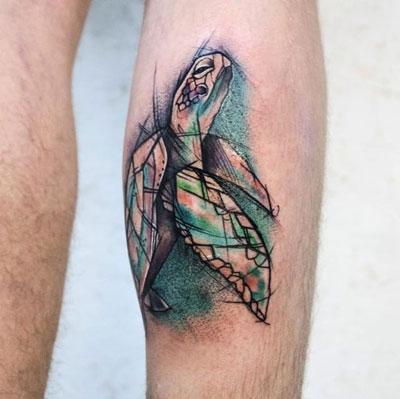 tatuaje tortuga color