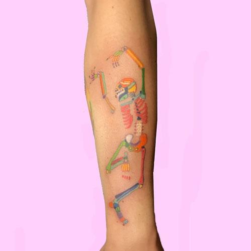Dancing skeleton tatuaje
