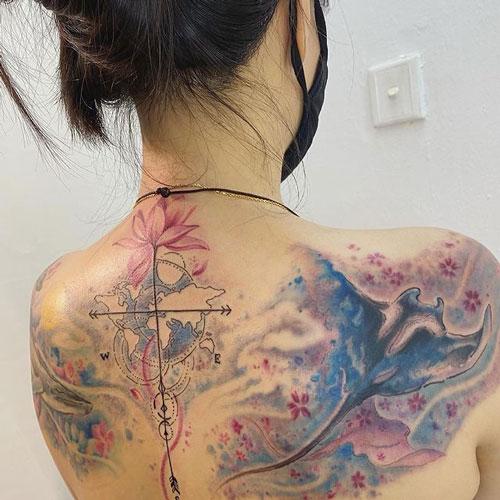 acuarela tattoo mantarraya