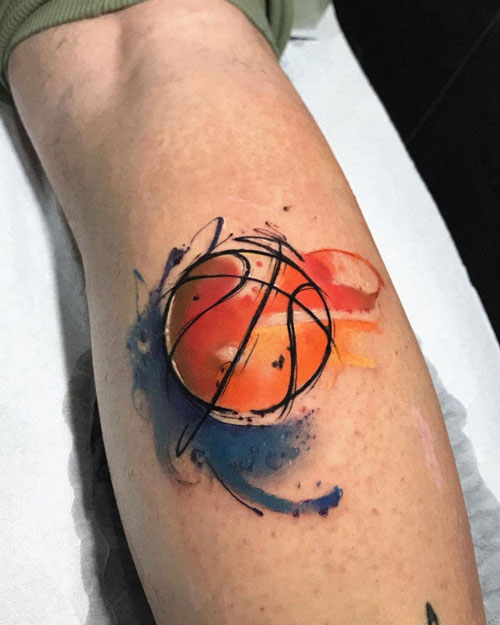 tattoo acuarela baloncesto