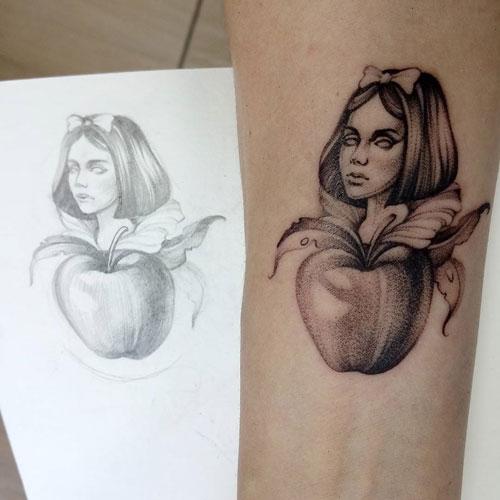 manzana y blancanieves tattoo