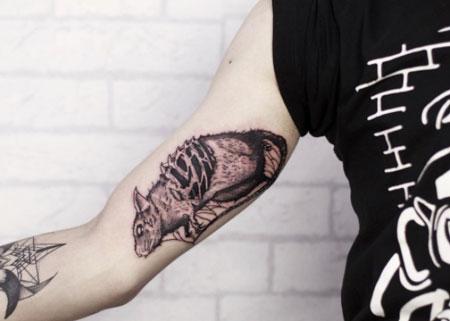 rata tatuaje en brazo