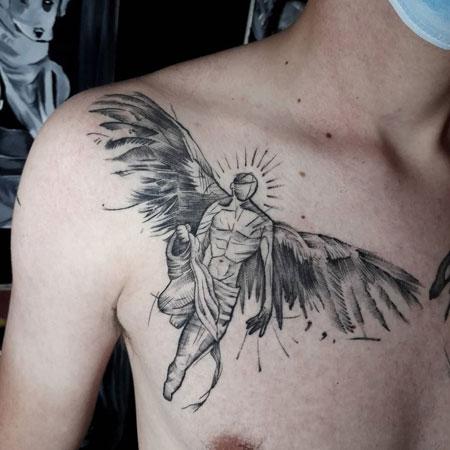 tatuaje de angel en hombre