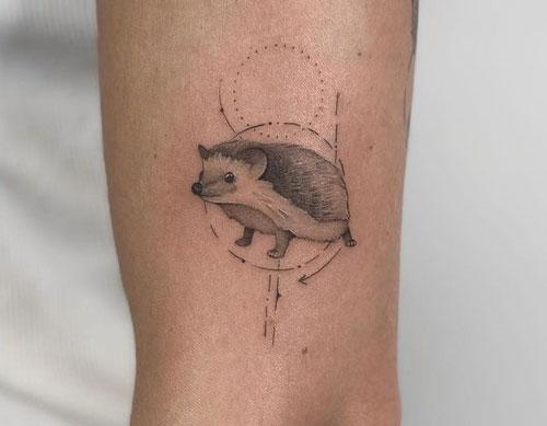 tatuaje de erizo para mujer