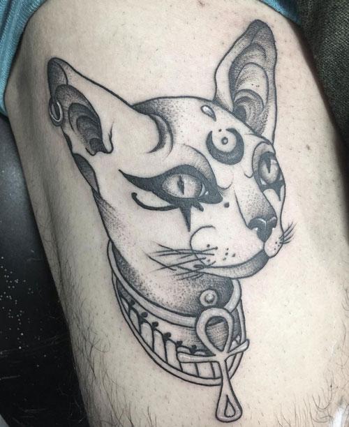 tatuaje en gris de gato