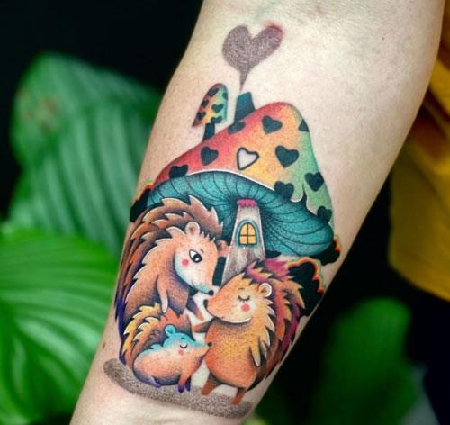 tatuaje familia de erizos
