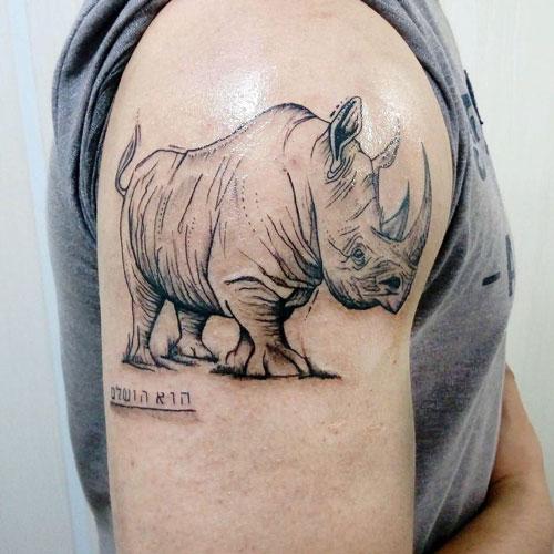 tatuaje ilustracion rinoceronte
