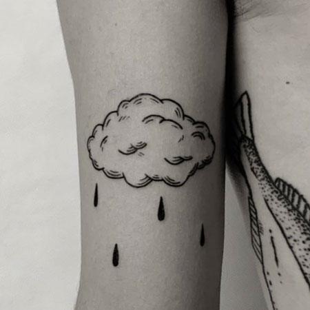 tatuaje sencillo de una nube