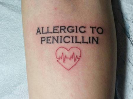 aviso de alergia tattoo