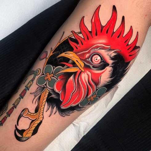 full color tatuaje gallo