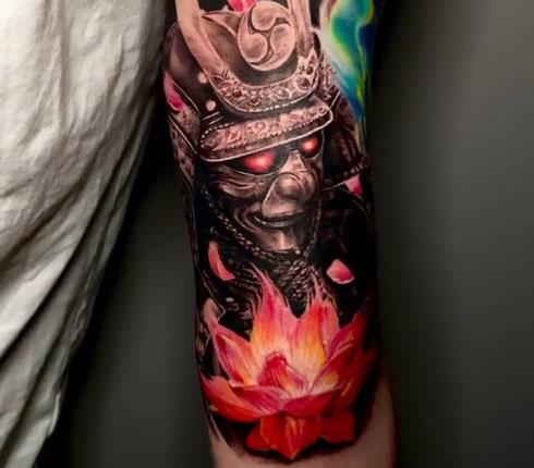 samurai tatuaje color