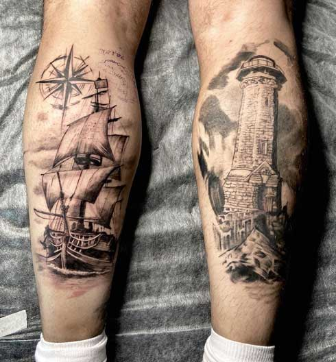 tattoo barco y farol