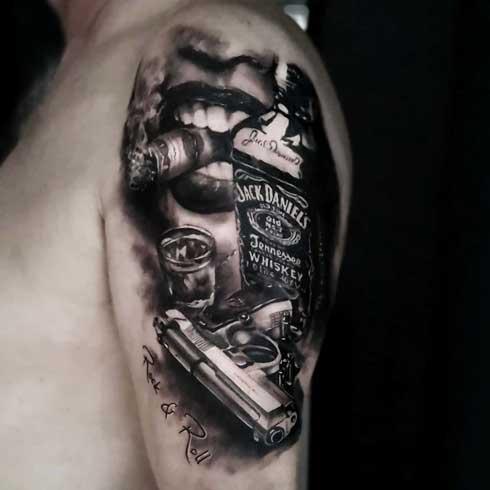 tattoo beretta y jack daniels
