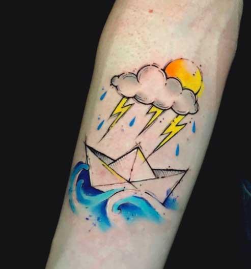 tattoo bote de papel